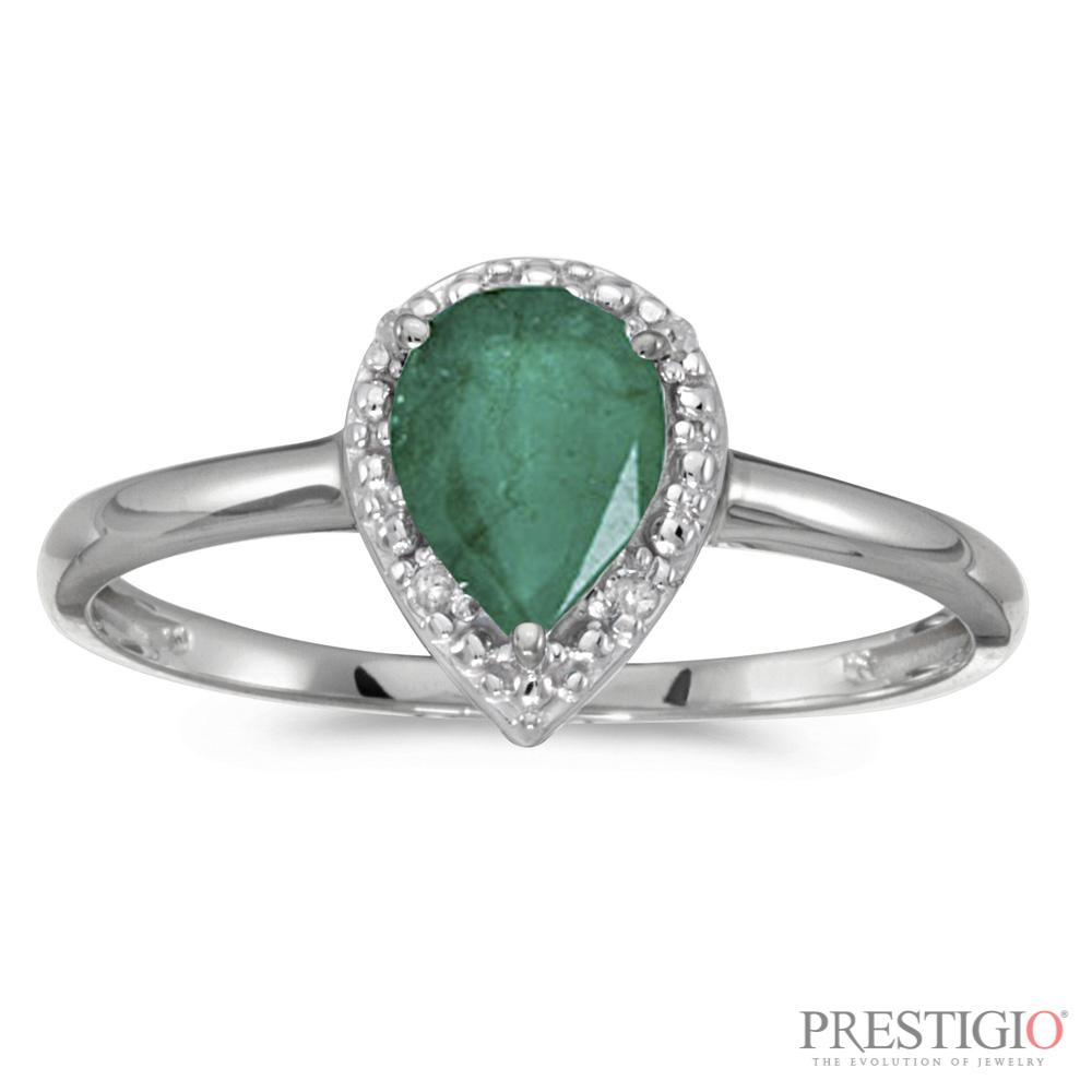 10k White Gold Pear Emerald & Diamond Ring