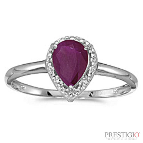 10k White Gold Pear Ruby & Diamond Ring
