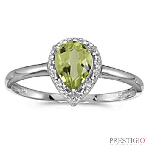 10k White Gold Pear Peridot & Diamond Ring