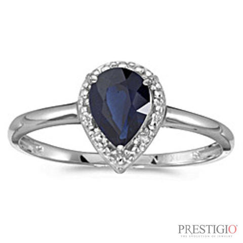 10k White Gold Pear Sapphire & Diamond Ring