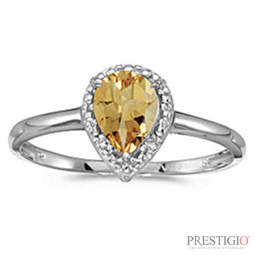 10k White Gold Pear Citrine & Diamond Ring