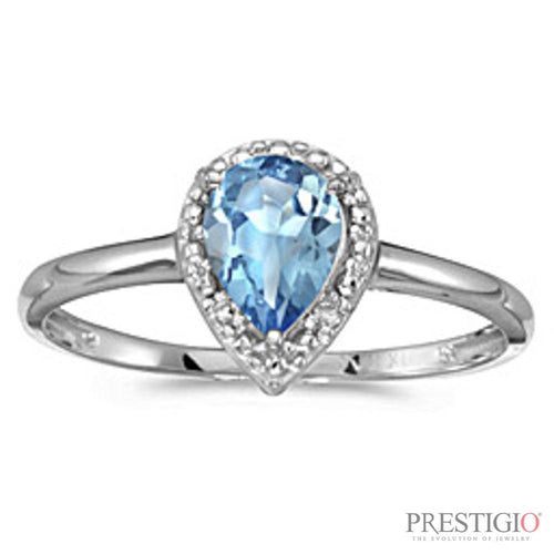 10k White Gold Pear Blue Topaz & Diamond Ring