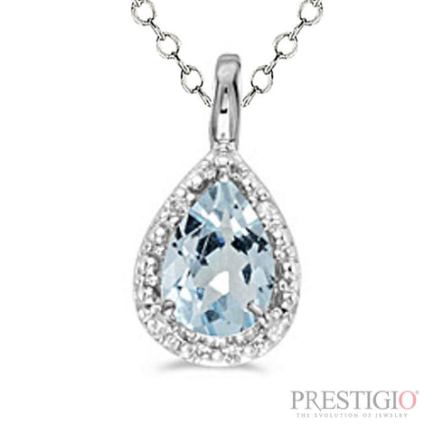 14k White Gold Pear Aquamarine & Diamond Pendant