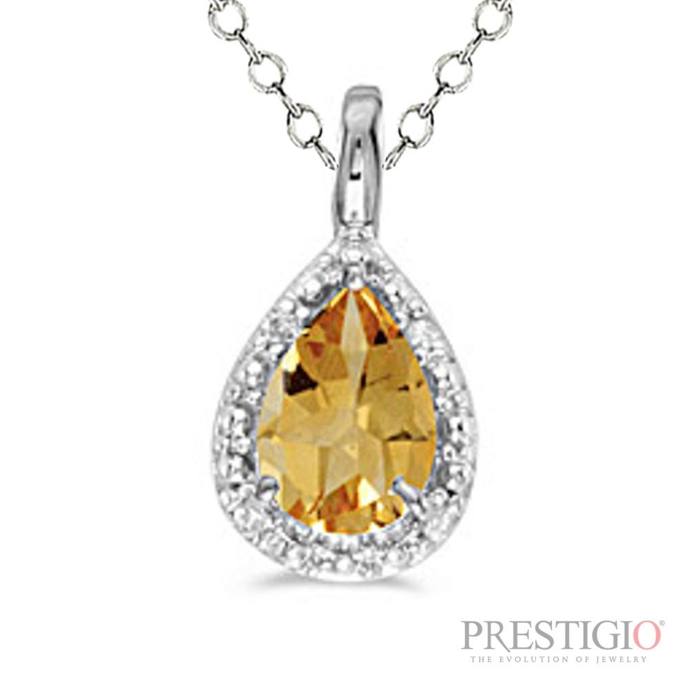 14k White Gold Pear Citrine & Diamond Pendant