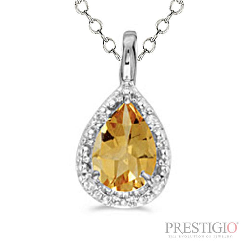 14k White Gold Pear Citrine & Diamond Pendant - prestigiojewelers