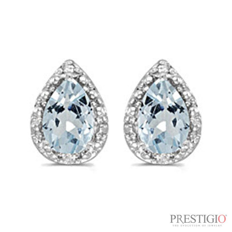 14k White Gold Pear Aquamarine & Diamond Earrings