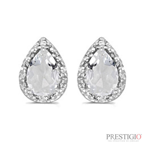 14k White Gold Pear White Topaz And Diamond Earrings - prestigiojewelers