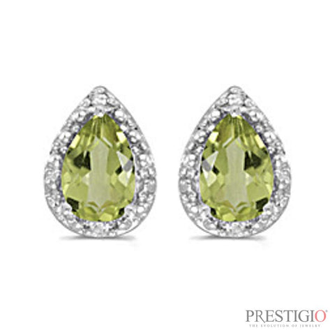 14k White Gold Pear Peridot And Diamond Earrings