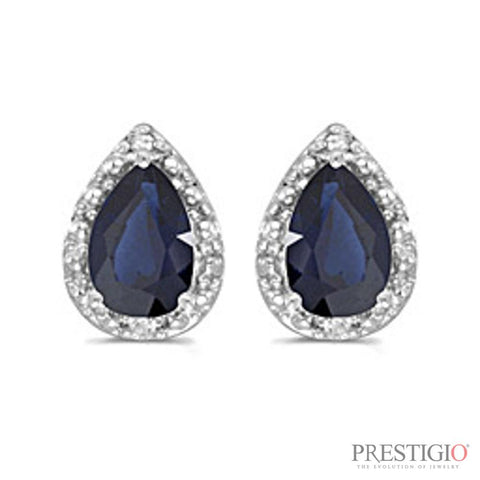 14k White Gold Pear Sapphire And Diamond Earrings