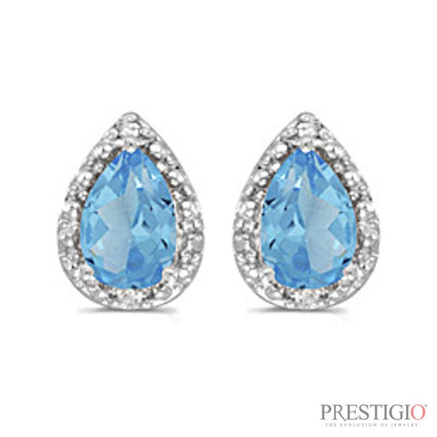 14k White Gold Pear Blue Topaz & Diamond Earrings
