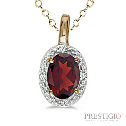 14k Yellow Gold Oval Garnet & Diamond Pendant - prestigiojewelers