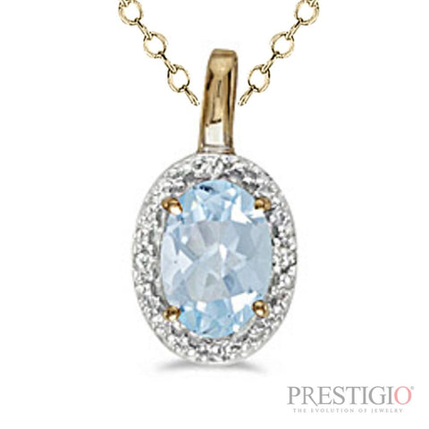 14k Yellow Gold Oval Aquamarine & Diamond Pendant