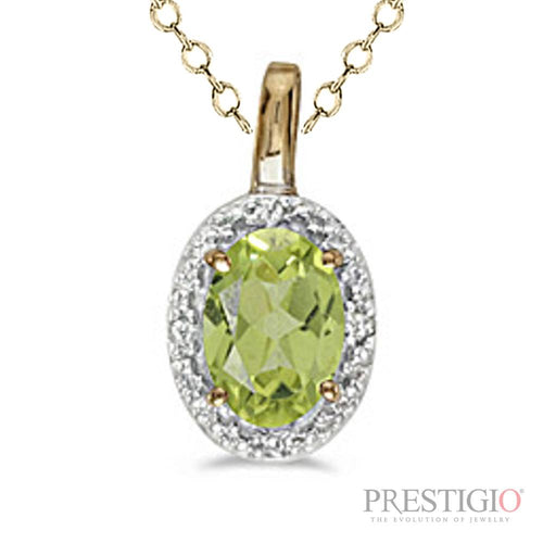 14k Yellow Gold Oval Peridot & Diamond Pendant - prestigiojewelers