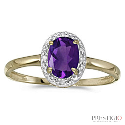 10k Yellow Gold Oval Amethyst & Diamond Ring