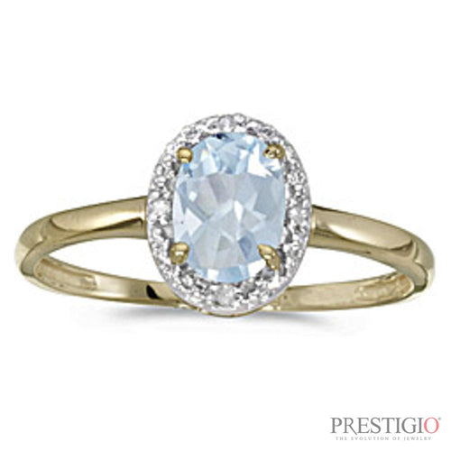 10k Yellow Gold Oval Aquamarine & Diamond Ring