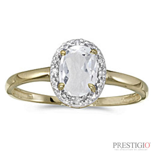 10k Yellow Gold Oval White Topaz & Diamond Ring