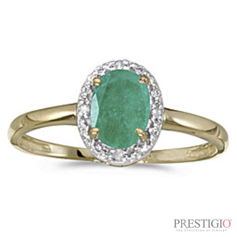 10k Yellow Gold Oval Emerald & Diamond Ring