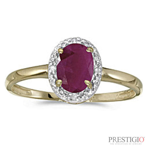 10k Yellow Gold Oval Ruby & Diamond Ring