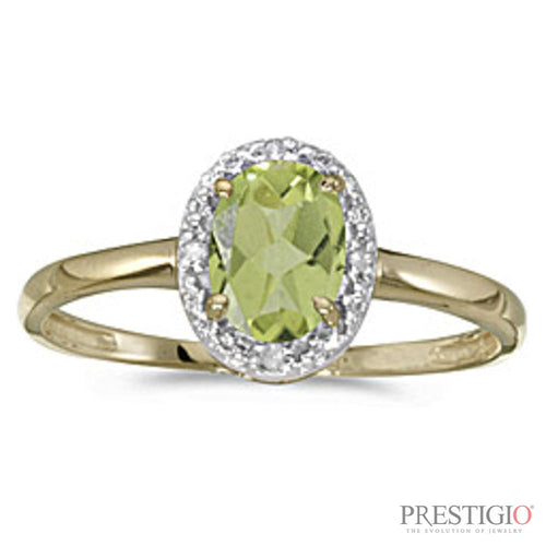 10k Yellow Gold Oval Peridot & Diamond Ring