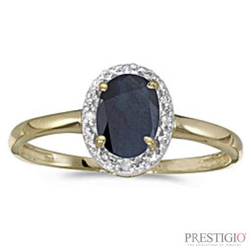 10k Yellow Gold Oval Sapphire & Diamond Ring