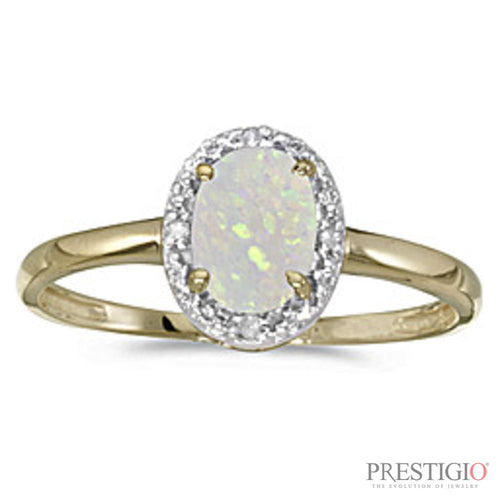 10k Yellow Gold Oval Opal & Diamond Ring