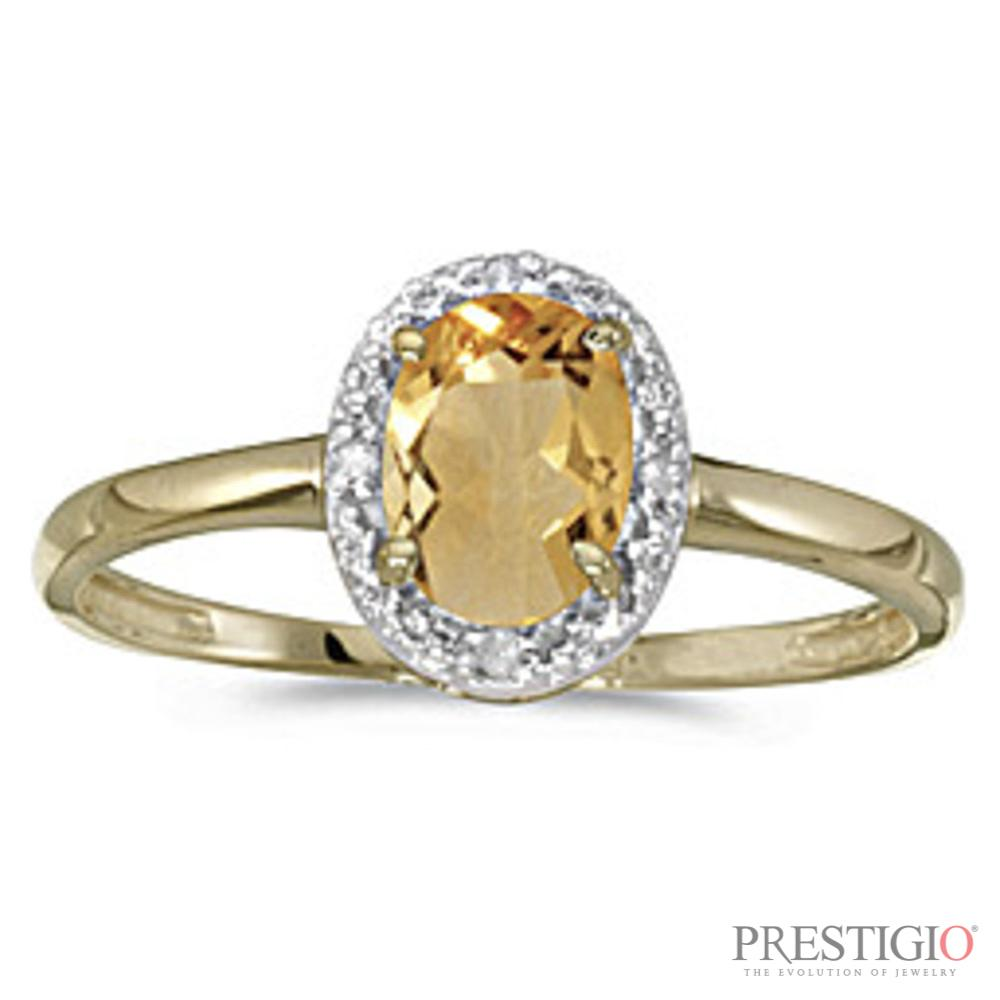 10k Yellow Gold Oval Citrine & Diamond Ring