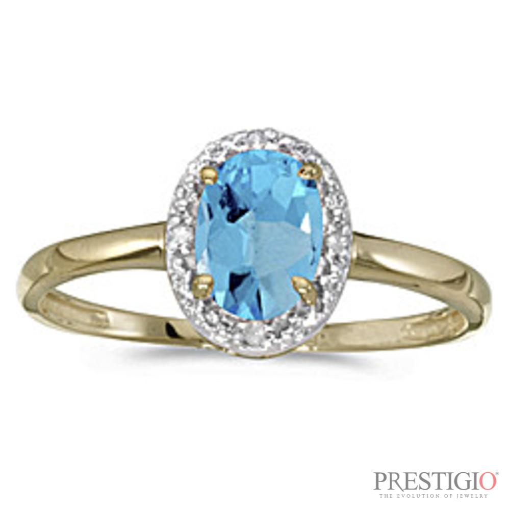 10k Yellow Gold Oval Blue Topaz & Diamond Ring