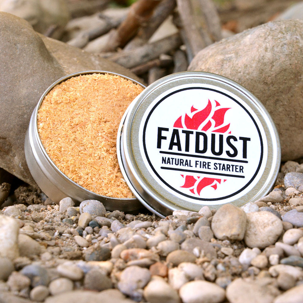 FatDust made from fatwood in tin