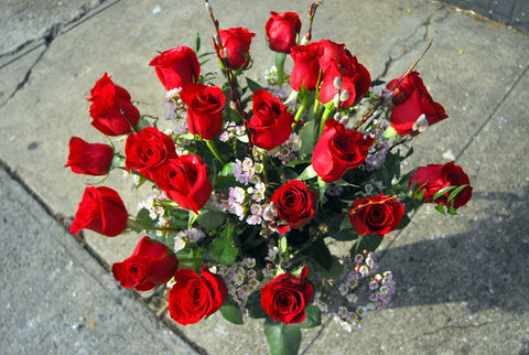 THREE dozen Roses in a Vase for Valentine's Day
