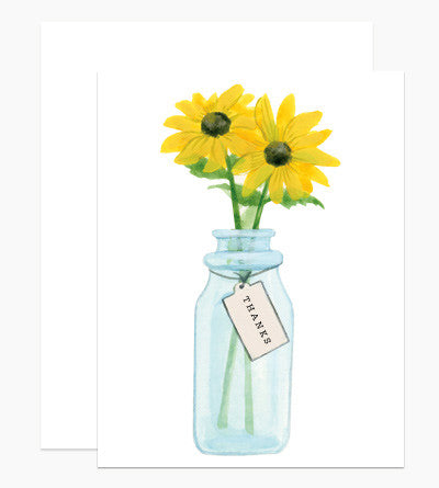 Vintage Jar with Black Eyed Susans