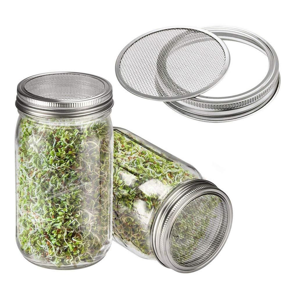 2Pcs  Wide Mouth Mason Jars Lid for Sprouting, and Shifting Flour and Sugar.