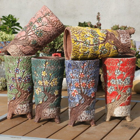 Korean New Style Hand-painted Fleshy Flower Pots Hand-painted Flower Pots Antique Old Pots Korean Pots