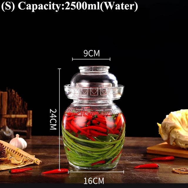 Transparent Glass Pickle Jars Kimchi Jar Perfect For making Pickles and Sauerkraut