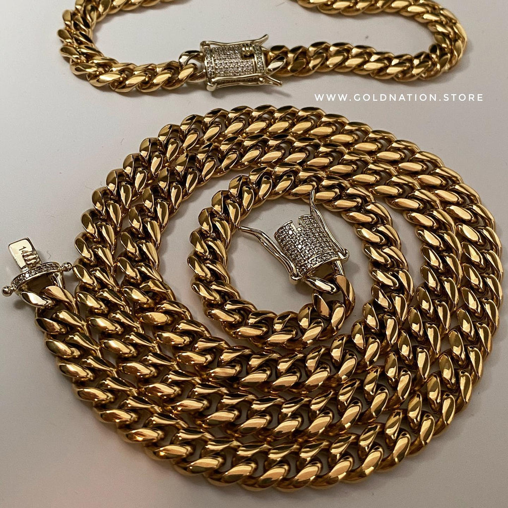 10mm Miami Cuban Link Chain Diamond Lock Necklace Jewelry Set - Gold Nation Store