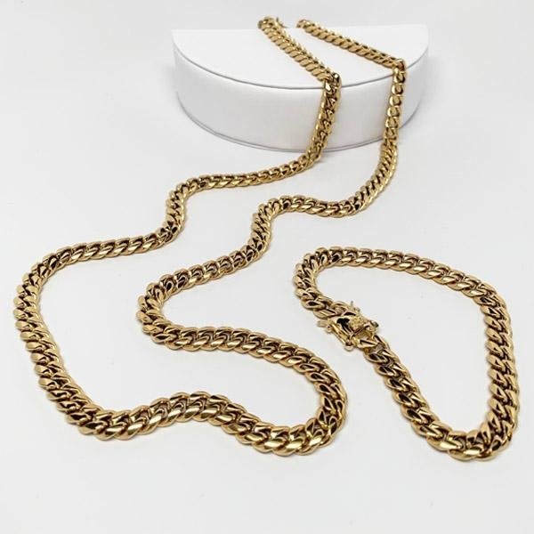 10mm Miami Cuban Link Set Custom Lock Necklace Jewelry Set - Gold Nation Store