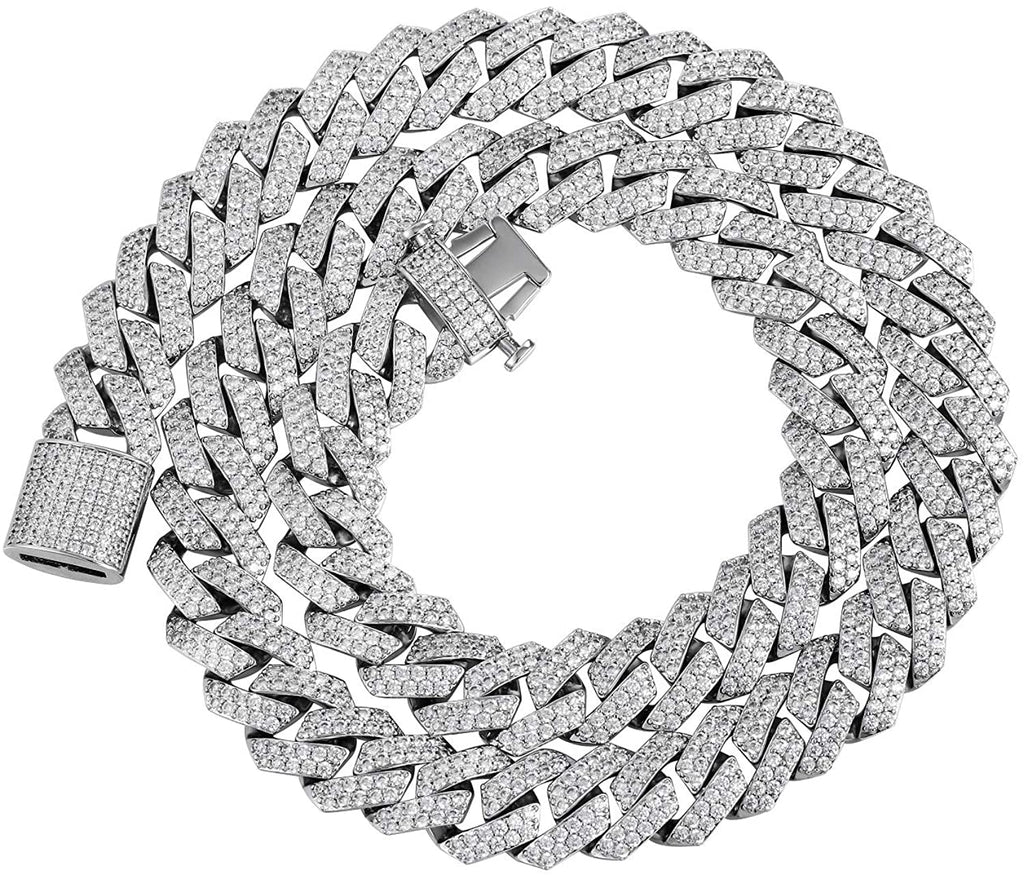 15mm Diamond Prong Link Choker White Gold - Gold Nation Store