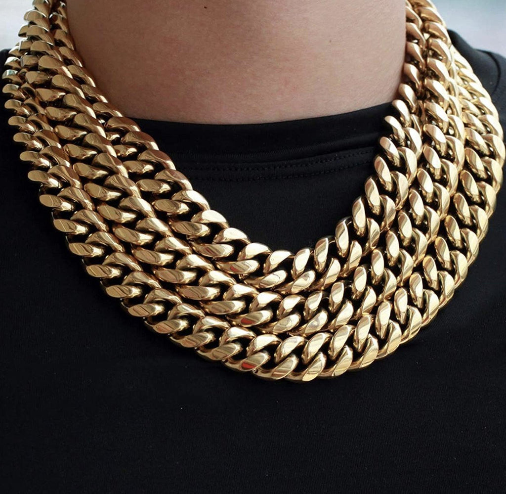 18mm Miami Cuban Link Custom Lock Necklace Jewelry Set - Gold Nation Store