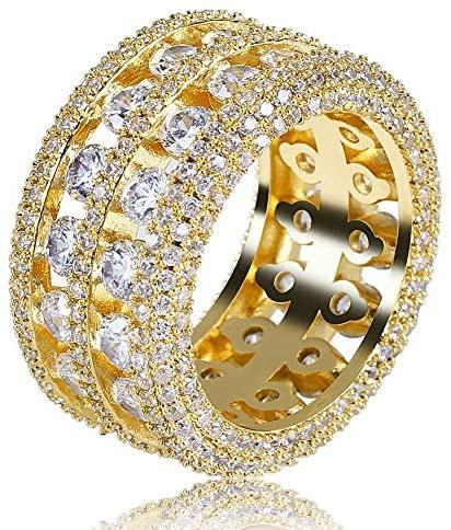 2 Rows Diamond Spaced Ring - Gold Nation Store