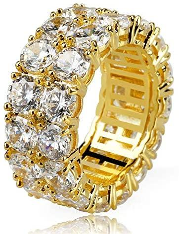 2-Rows Iced Classic Ring - Gold Nation Store