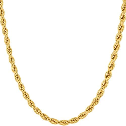 4mm Rope Chain 24k Gold Plated Necklaces - Gold Nation Store