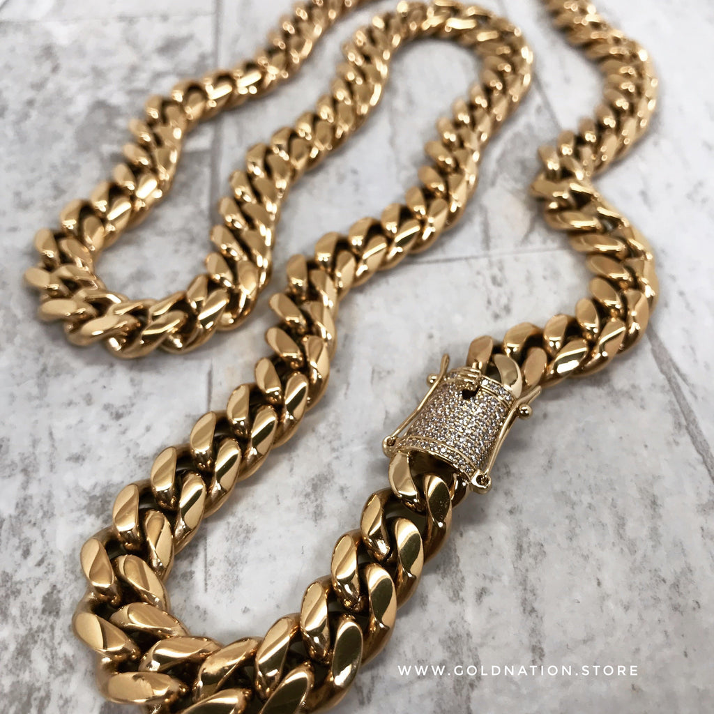 8mm Miami Cuban Link Diamond Lock - Gold Nation Store