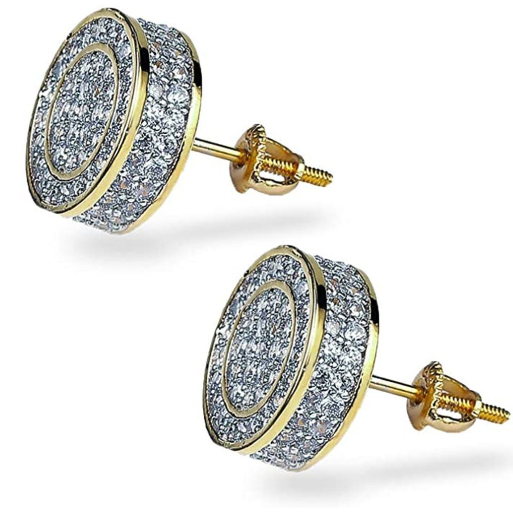 925 Sterling Silver CZ Hypoallergenic Round Earrings - Gold Nation Store
