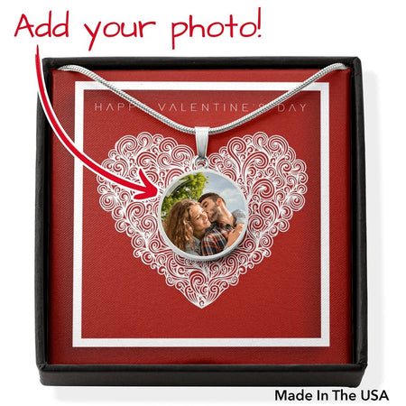 Circle Photo Valentines Pendant Necklaces (Upload your photo) - Gold Nation Store