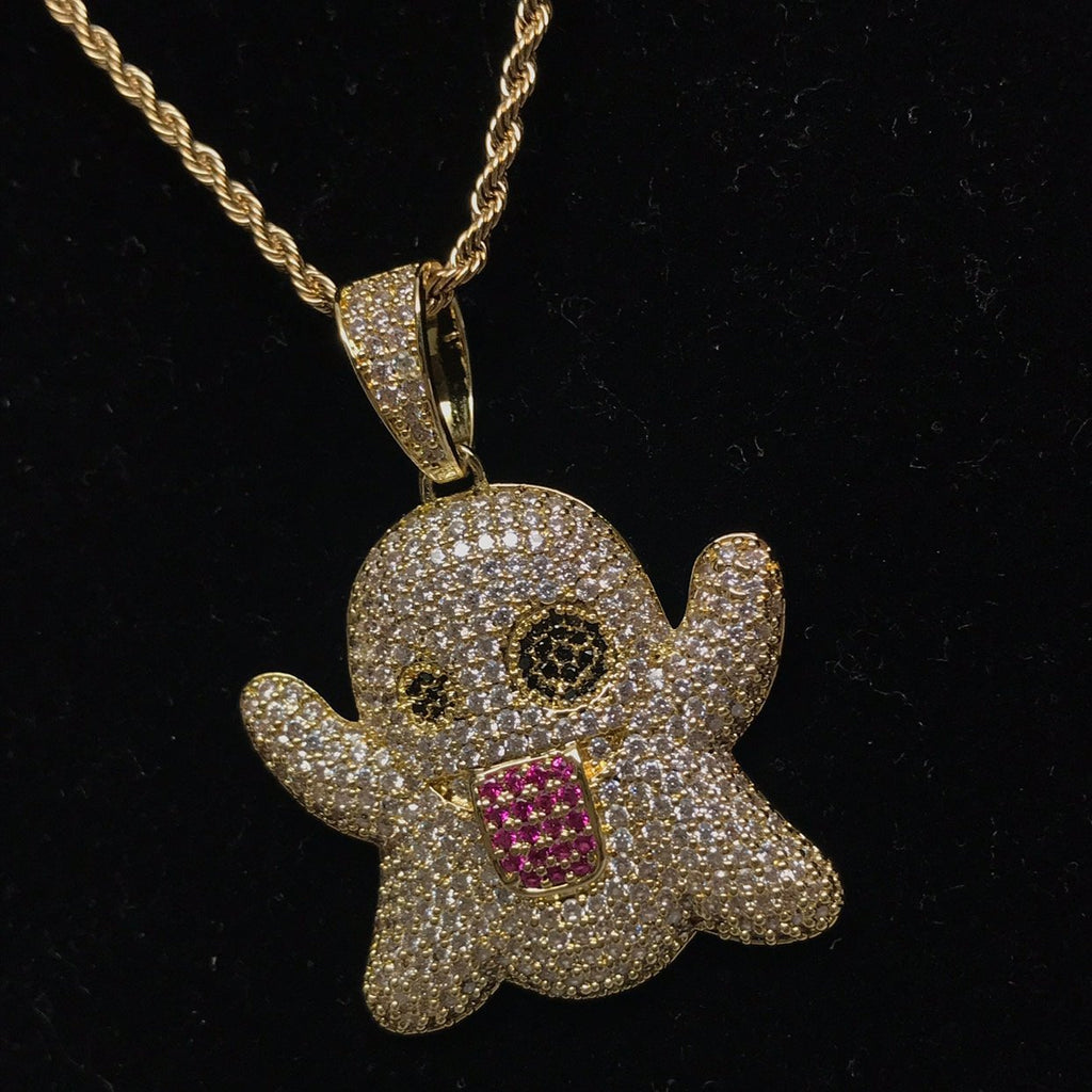Emoji Ghost Pendants - Gold Nation Store
