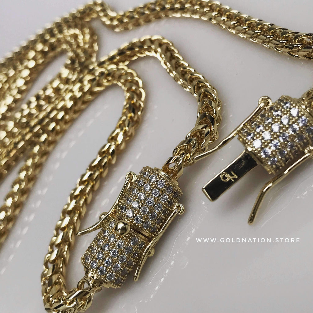 4mm Franco Snake Chain Necklace Jewelry Set (Diamond Lock) - Gold Nation Store