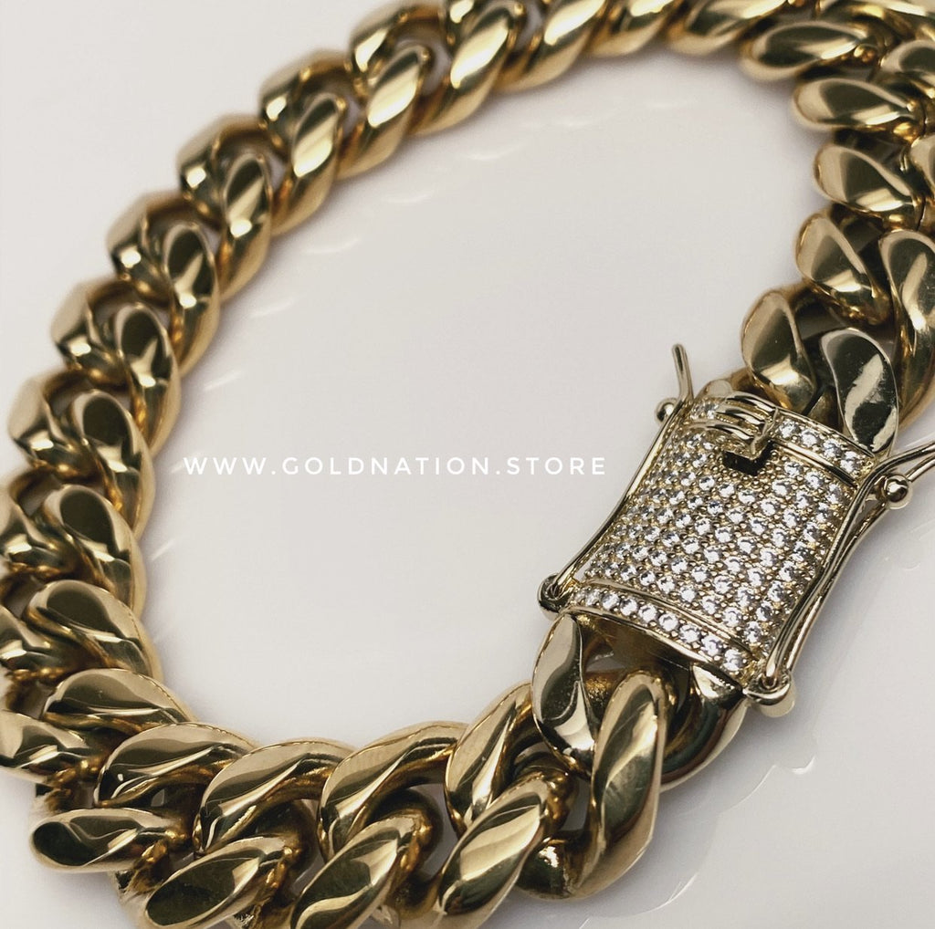 Miami Cuban 14mm Bracelet Diamond Lock - Gold Nation Store
