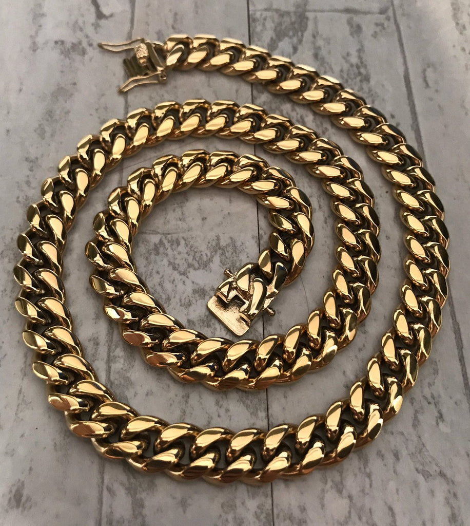 12mm Miami Cuban Link Custom Lock Necklaces Jewelry Set - Gold Nation Store