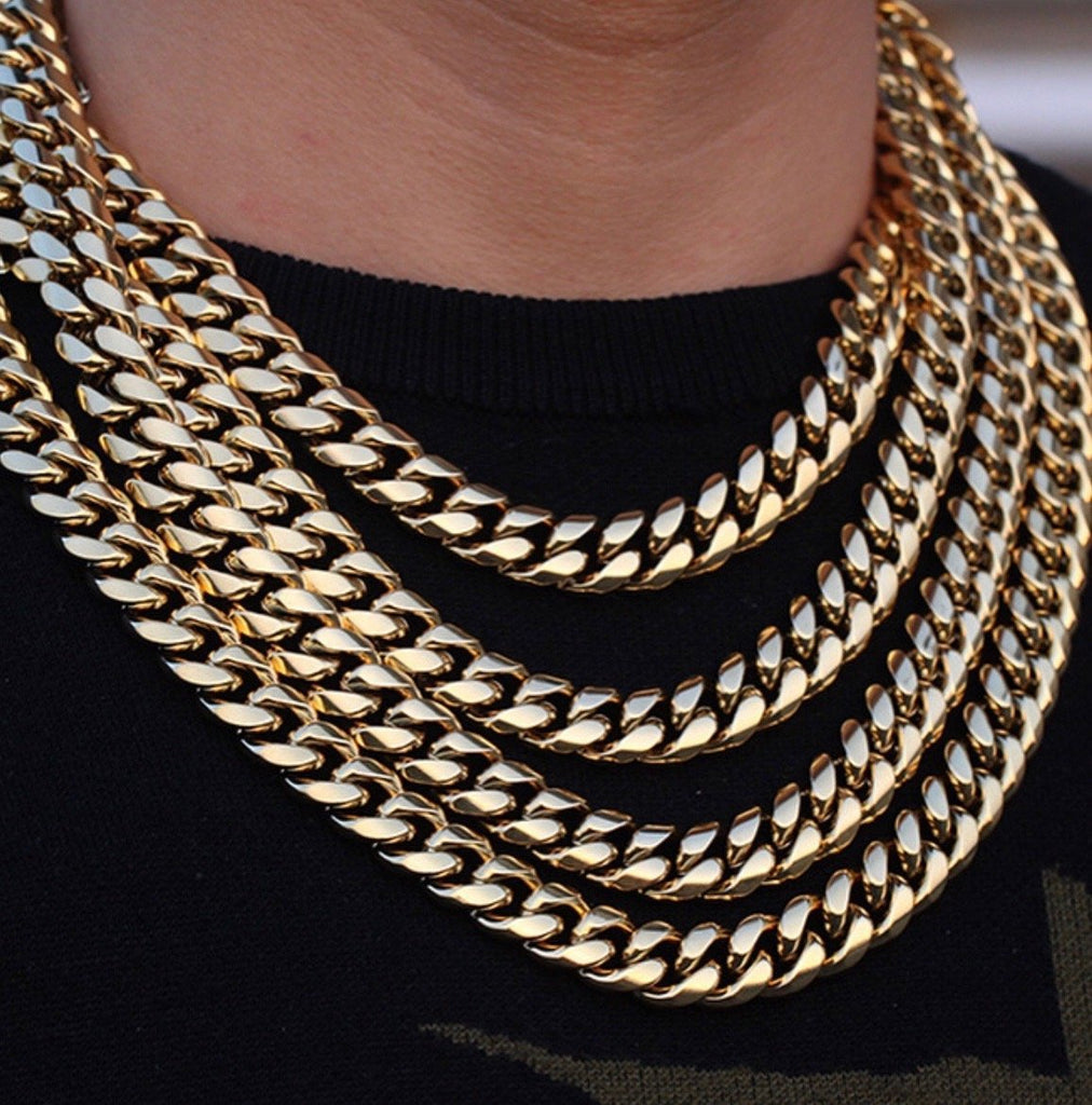 Miami Cuban Link 12mm Custom Lock - Gold Nation Store