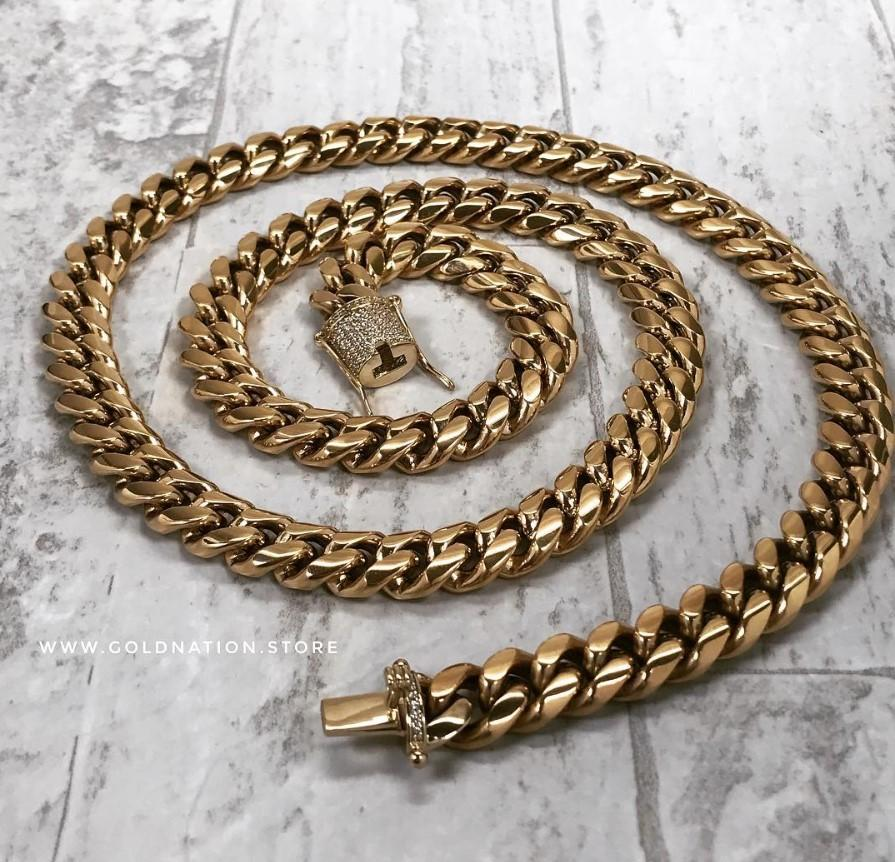 12mm Miami Cuban Link Diamond Lock Necklaces Jewelry Set - Gold Nation Store