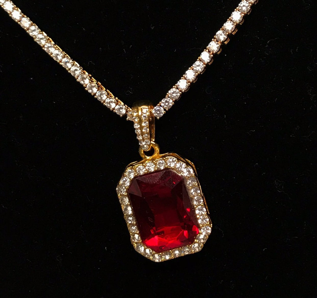 Ruby Blood Stone Pendant - Gold Nation Store
